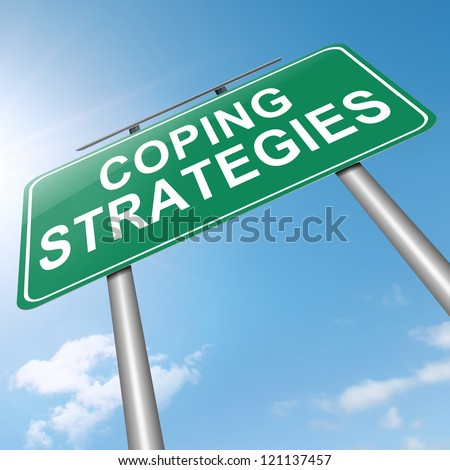 Illustration depicting a roadsign with a coping strategies concept. Sky background. - stock photo