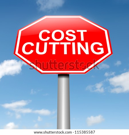 Illustration depicting a roadsign with a cost cutting concept. Sky background. - stock photo