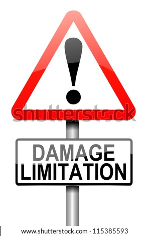 Illustration depicting a roadsign with a damage liability concept. White background. - stock photo