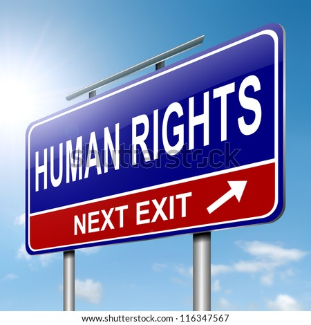 Illustration depicting a roadsign with a human rights concept. Sky background. - stock photo