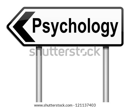 Illustration depicting a roadsign with a psychology concept. White background. - stock photo