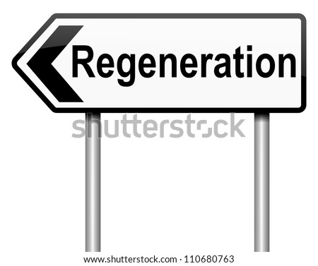 Illustration depicting a roadsign with a regeneration concept. White background. - stock photo