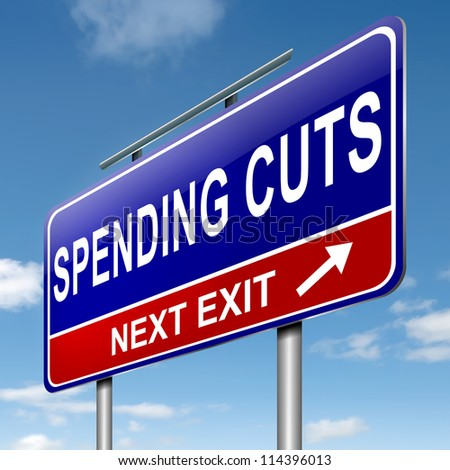 Illustration depicting a roadsign with a spending cuts concept. Sky  background. - stock photo