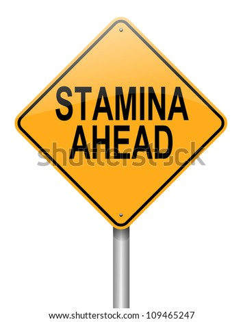 Illustration depicting a roadsign with a stamina concept. White  background. - stock photo