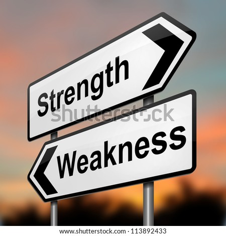 Illustration depicting a roadsign with a strength and weakness concept. Blurred dusk background. - stock photo