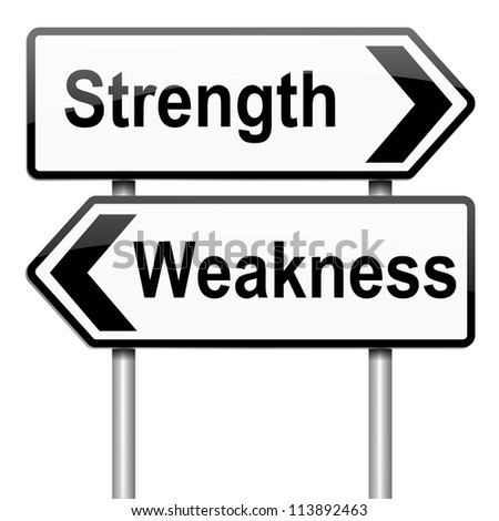 Illustration depicting a roadsign with a strength and weakness concept. White background. - stock photo