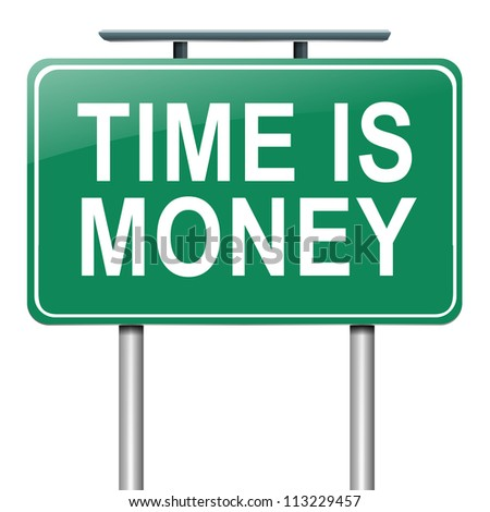 Illustration depicting a roadsign with a time is money concept. White background. - stock photo