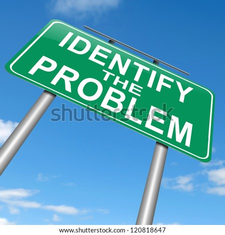 Illustration depicting a roadsign with an identify the problem concept. Sky background. - stock photo