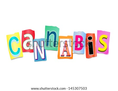 Illustration depicting a set of cut out printed letters formed to arrange the word cannabis. - stock photo
