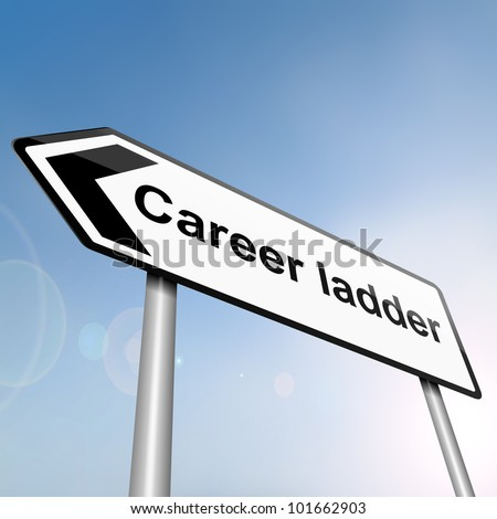 illustration depicting a sign post with directional arrow containing a career ladder concept. Blurred background. - stock photo