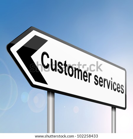 illustration depicting a sign post with directional arrow containing a customer services concept. Blurred background. - stock photo
