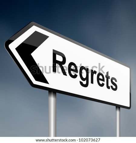 illustration depicting a sign post with directional arrow containing a regrets concept. Blurred background. - stock photo
