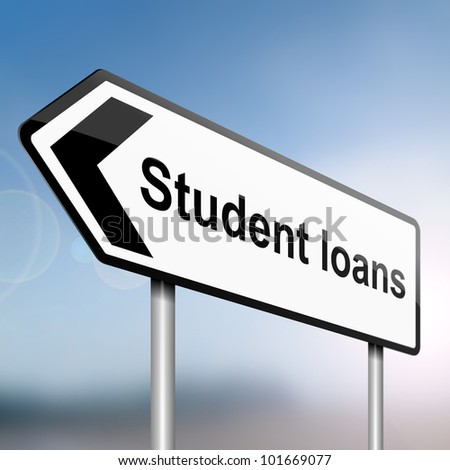 illustration depicting a sign post with directional arrow containing a student loans concept. Blurred background. - stock photo