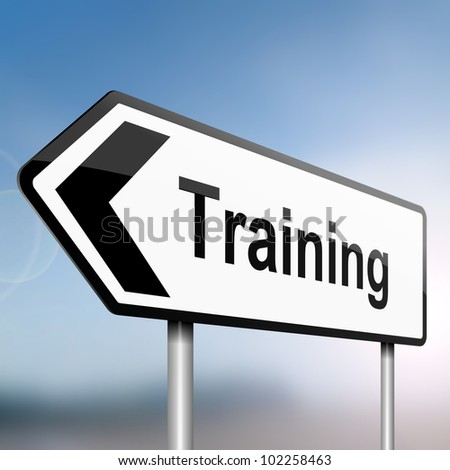 illustration depicting a sign post with directional arrow containing a training concept. Blurred background. - stock photo