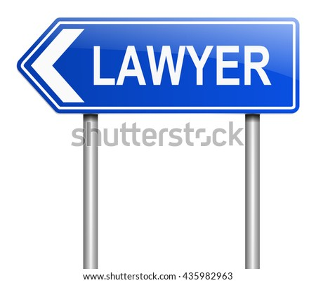 Illustration depicting a sign with a lawyer concept. - stock photo