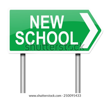 Illustration depicting a sign with a new school concept. - stock photo