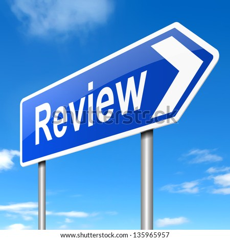 Illustration depicting a sign with a review concept. - stock photo