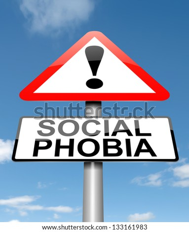 Illustration depicting a sign with a social phobia concept. - stock photo