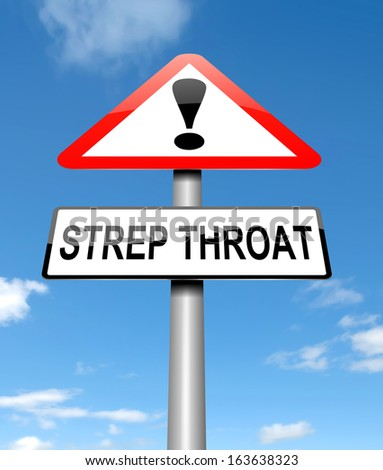 Illustration depicting a sign with a Strep Throat concept. - stock photo