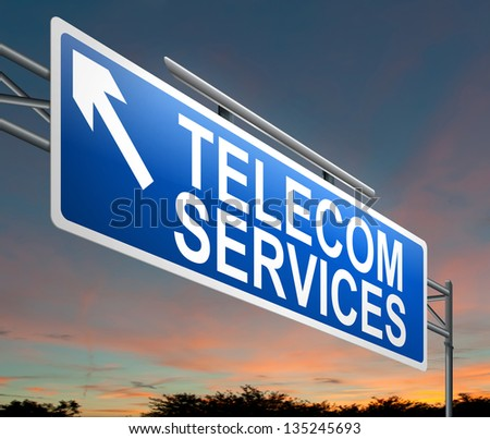 Illustration depicting a sign with a telecom services concept. - stock photo