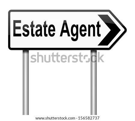 Illustration depicting a sign with an Estate Agent concept. - stock photo