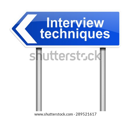 Illustration depicting a sign with an interview concept. - stock photo