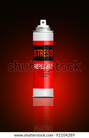 Illustration depicting a single aerosol spray can with the words 'stress repellent'. Red and black blur background. - stock photo