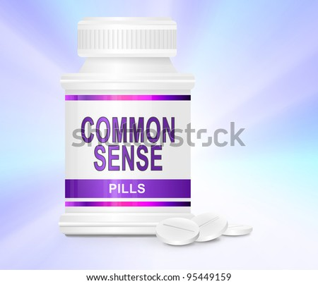 Illustration depicting a single medication container with the words 'common sense pills' on the front with subtle pastel light effect background and a few tablets in the foreground. - stock photo
