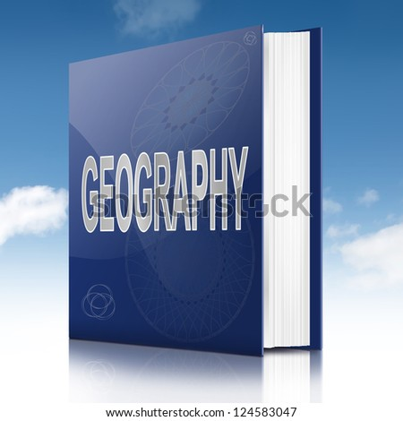 Illustration depicting a text book with a geography concept title. Sky background. - stock photo