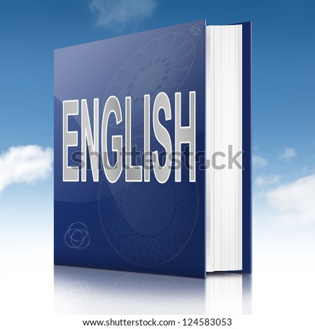 Illustration depicting a text book with an English concept title. White background. - stock photo