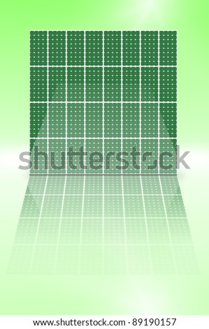 Illustration depicting a vertical array of green photovoltaic solar panels reflecting into a shiny foreground. - stock photo