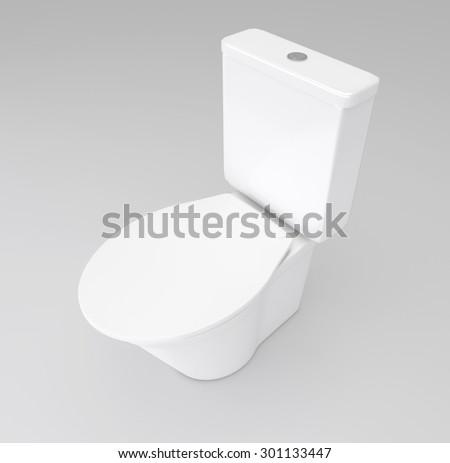 Illustration depicting a white toilet arranged over grey. - stock photo