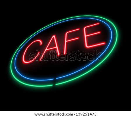 Illustration depicting an illuminated neon cafe sign. - stock photo
