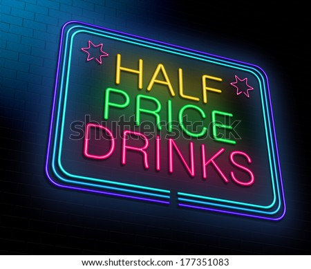 Illustration depicting an illuminated neon sign with a cheap alcohol concept. - stock photo