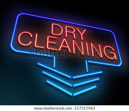 Illustration depicting an illuminated neon sign with a dry cleaning concept. - stock photo