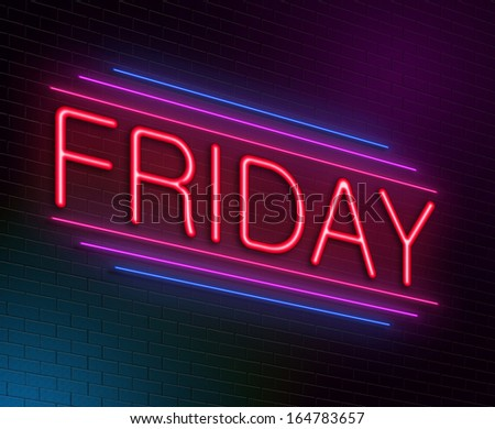 Illustration depicting an illuminated neon sign with a Friday concept. - stock photo