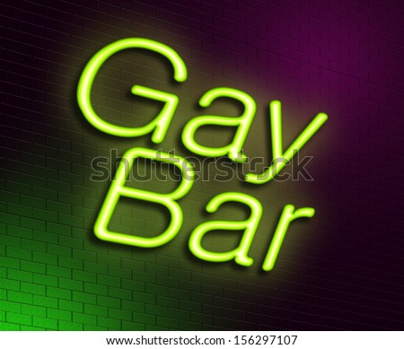 Illustration depicting an illuminated neon sign with a gay bar concept. - stock photo