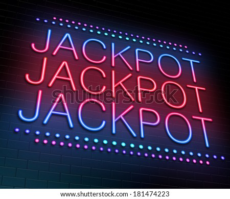Illustration depicting an illuminated neon sign with a jackpot concept. - stock photo