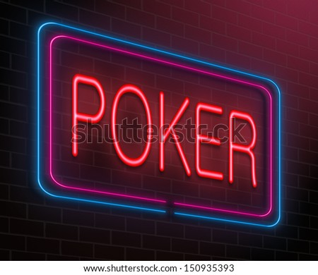Illustration depicting an illuminated neon sign with a poker concept. - stock photo