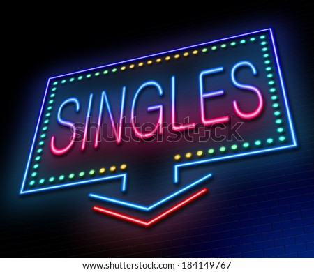 Illustration depicting an illuminated neon sign with a singles concept. - stock photo
