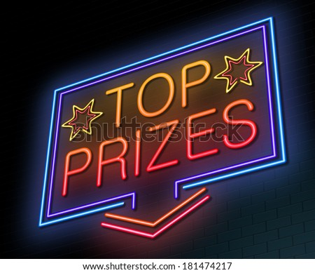 Illustration depicting an illuminated neon sign with a top prizes concept. - stock photo