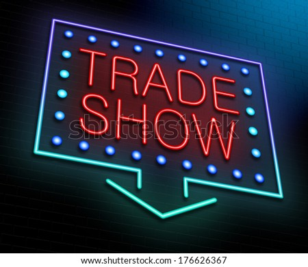 Illustration depicting an illuminated neon sign with a trade show concept. - stock photo
