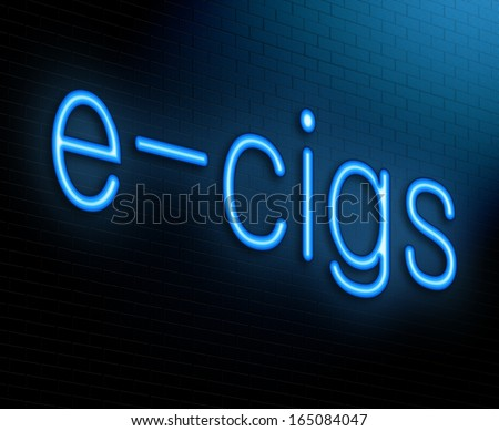 Illustration depicting an illuminated neon sign with an e-cigarette concept. - stock photo
