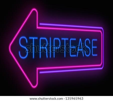 Illustration depicting an illuminated neon striptease sign. - stock photo