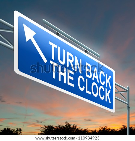 Illustration depicting an illuminated roadsign with a turn back the clock concept. Dark sunset sky background. - stock photo