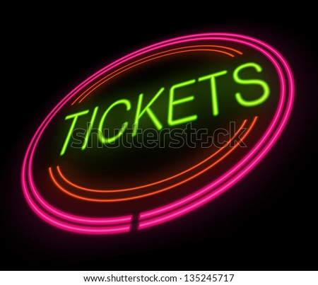 Illustration depicting an illuminated tickets sign. - stock photo