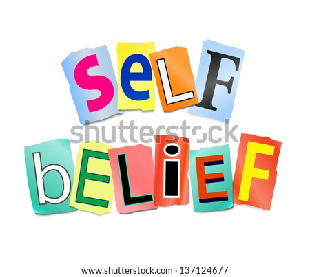 Illustration depicting cutout printed letters arranged to form the words self belief. - stock photo