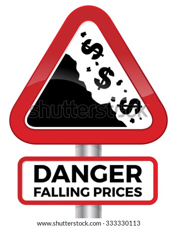 Illustration depicting falling prices represented by tumbling dollar signs crashing down a cliff on a red road sign. - stock photo