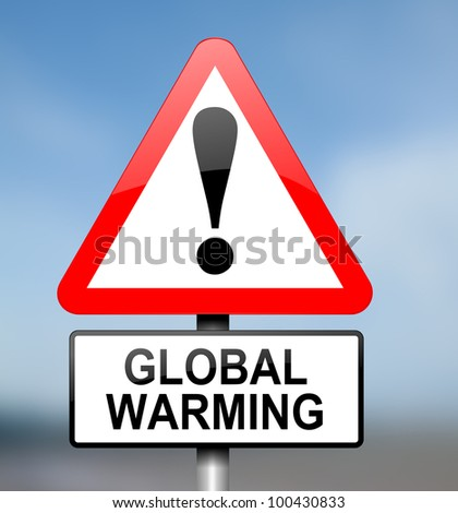 Illustration depicting red and white triangular warning road sign with a global warming concept.Blurred background. - stock photo