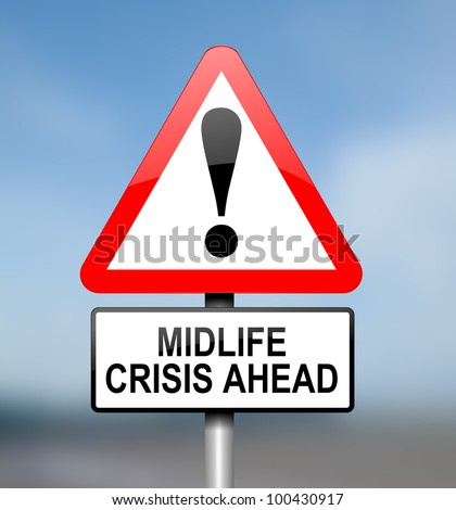 Illustration depicting red and white triangular warning road sign with a midlife crisis concept. Blurred  background. - stock photo